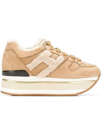 HOGAN DONNA Sneakers H394 Maxi222 Mod. HXW3940AQ70HTA0XFI in Nabuk e  Montone Beige 37 12d6b118e77