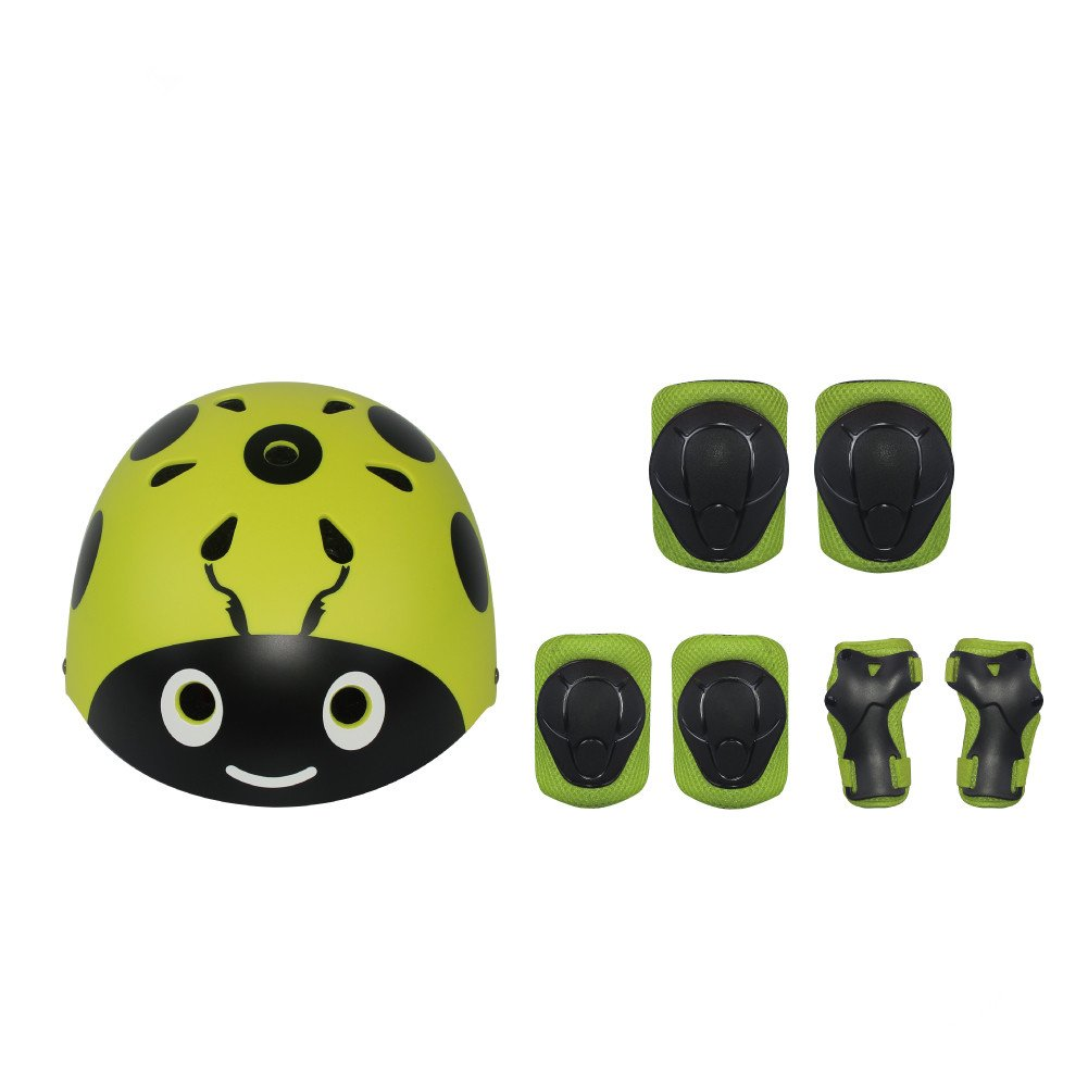 LANOVAGEAR Kids Protective Gear Set Adjustable Helmets Knee Elbow Pads Wrist Guards for Sports Bicycle Skateboard Roller Blading Skate Cycling (Yellow-Green, Small) by LANOVAGEAR (Image #9)