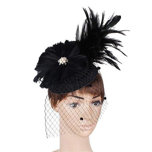 LYQ Princess Elegante Mujer Fascinator Sombrero Cocktail Tea Party Caps  Accesorios de Clip de Pelo de 3eaa8cfa3e4