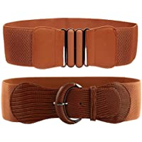 VOCHIC 2pcs Wide Elastic Plus Size Women Waist Belts for Ladies Dresses Thick Stretch Waistband