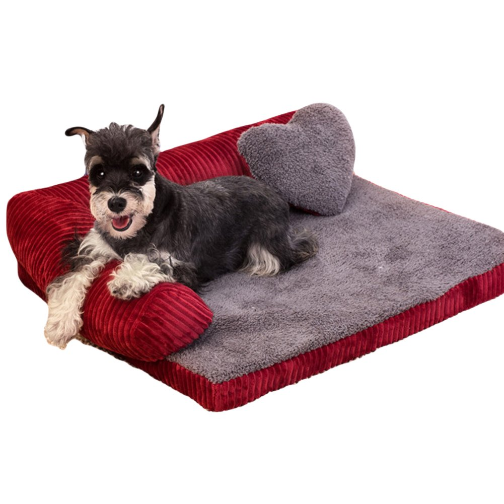 Saymequeen Washable Cotton Corduroy Dog Sofa Kennel Cat Puppy Bed Pet Nest (M, red)