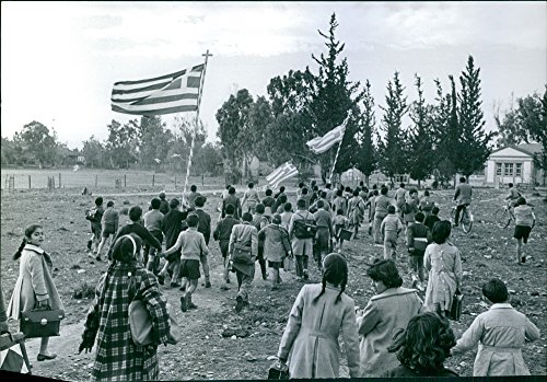 Stage Rally (Vintage photo of 1959Manifestation pa Cypern (Manifestation in Cyprus) Cyprus people stage parade rally carrying flags.)