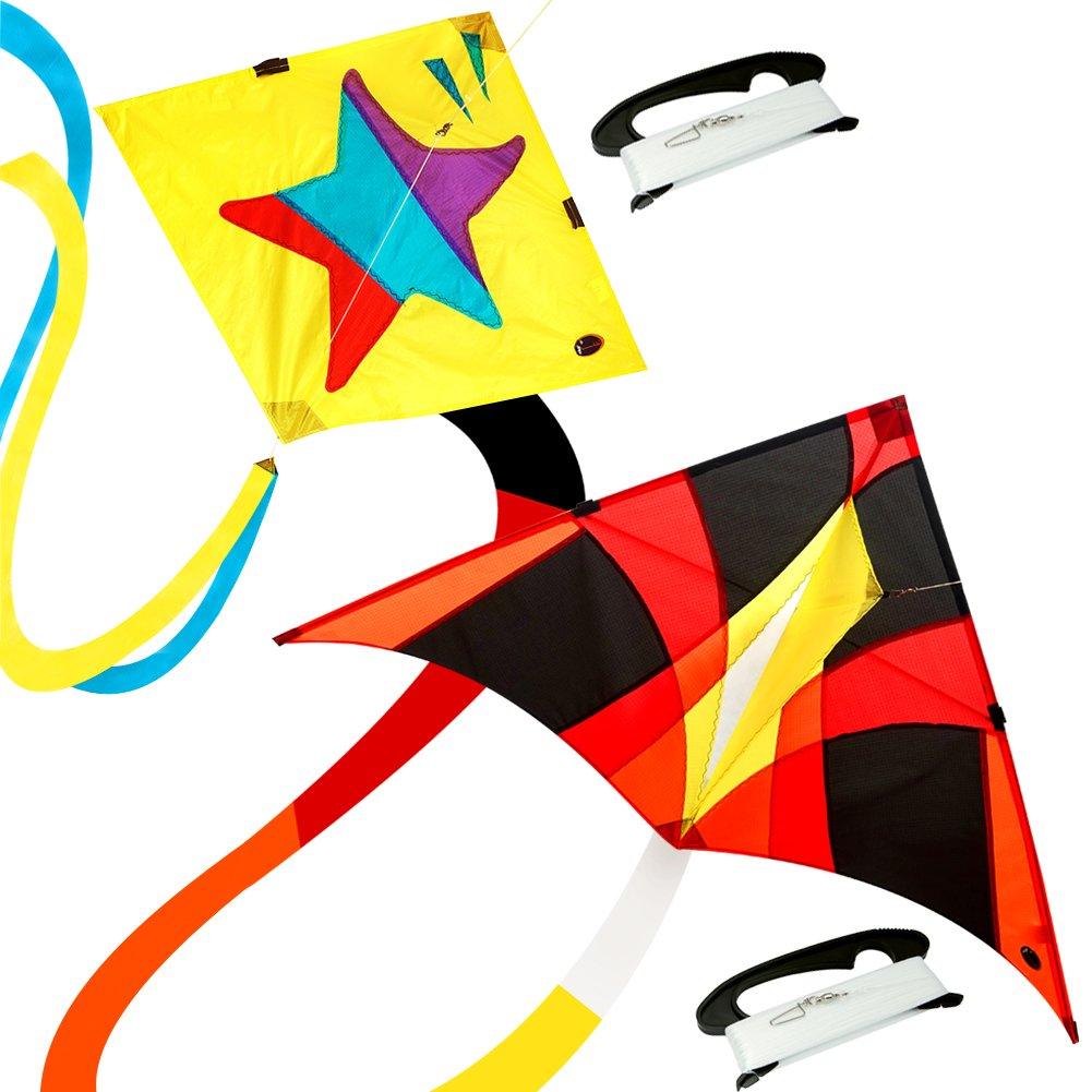 emma kites Pack of 2 Little Star 30-inch Diamond Kite & FIREBIRD 60-inch Delta Kite for Beginner Kids Adults - RTF Kit including Kite Tail & 320ft Kite String - for Outdoor Games Activities