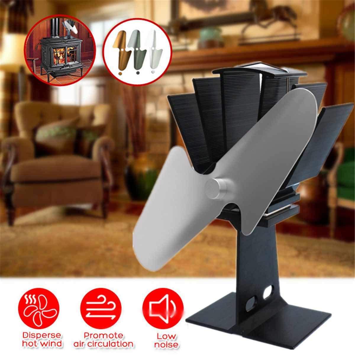 Best Design 4 Blades Stove Fireplace Heat Home Fan Wood Burner Heater Eco Efficient, Wood Heating Stoves - Wood Stove Heat Powered Fan, Wood Stove Heat Saver, Woodstove Fan, Wood Stove Heat Recovery by Convenient ShopS