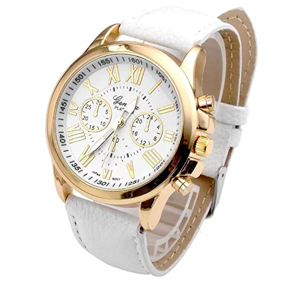 Womens Watch,Elegant Geneva Roman Numerals Wristwatch Analog Quartz Clock Axchongery (White)