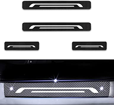 For Polo 4D M Car Pedal Covers Door Sill Protectors Entry Guard Scuff Plate Trims Anti-Scratch Reflective Carbon Fiber Stickers Auto Accessories Exterior Styling 4Pcs Blue