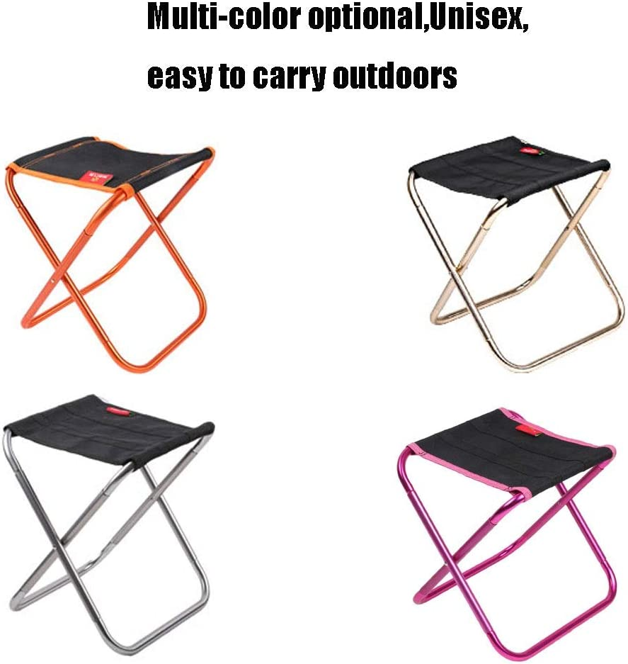 A - Z ZA Outdoor, folding chair, ultra light, portable, aluminum alloy, Mazar, wild stool, simple small bench, multi-function stool (Color : Red) Orange