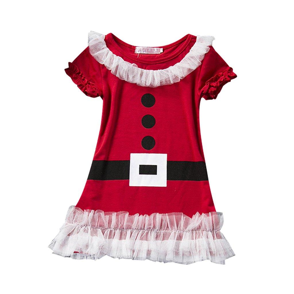 Mädchen Kinder Weihnachten Kleid Weihnachtsmann Kostüm Festkleid Geschenke Generic