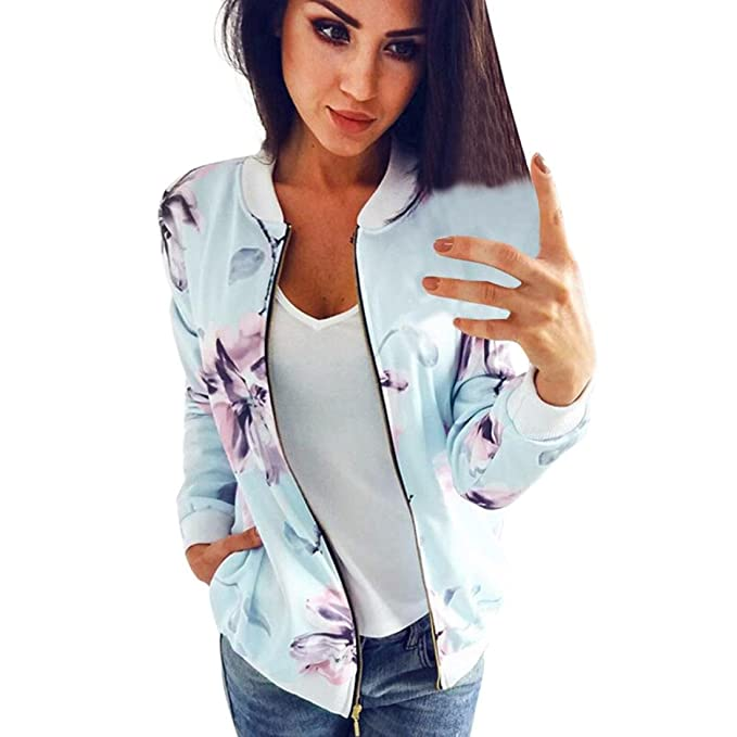 639b20ce4 Yukong Women Floral Jacket, Vintage Flower Print Stand Collar Short Bomber  Coat Zipper Outwear with Pockets