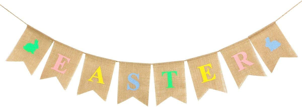 Lomsarsh Party Decoration Linen Pennant Bunting Banner Rabbit Easter String Flag for Kids Parties Carnivals Indoor and Outdoor Events
