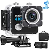 """WiMiUS 4K Action Camera HD 20MP 30M Underwater Cameras Wifi Helmet Cam 170° Wide Angle 2.0"""" LCD Screen Dual Rechargeable Batteries Portable Package Waterproof Case Kit of Accessories, L1, Black"""