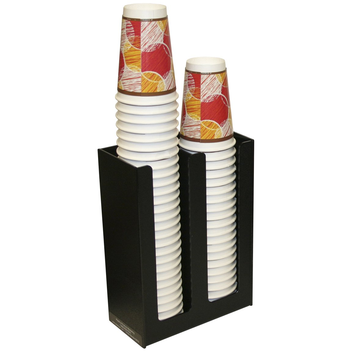Coffee Lids & or Cup Holder, 2 Columns 12''high. Handsome Textured Black and Easy to Clean. Virtually Non-breakable. Made in the USA! by PPM.