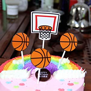 Basketball CakeToppers Sport Theme Party Birthday Party Cupcake Topper Dessert Baking Cake Fruit Food Decoration, 40Pcs