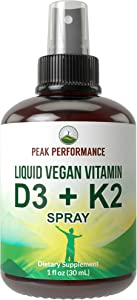 Liquid Vitamin D + K Spray - Vegan D3 + K2 Mk7 Drops Spray Supplement by Peak Performance. Natural Cholecalciferol, Menaquinone Vitamins. Plant Based, Gluten Free, Keto. for Adults, Kids, Men, Women