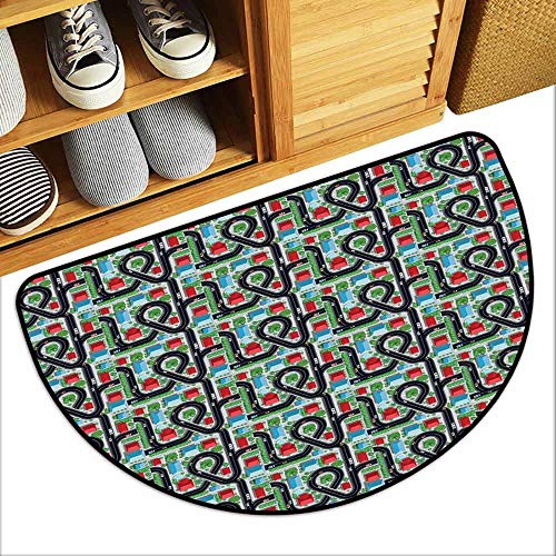 DILITECK Outdoor Door mat Kids Car Race Track Roadway Activity Crossroads Top View in Highway with Houses and Trees Breathability W24 xL16 Multicolor