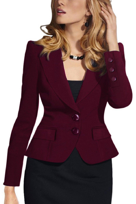 Women Elegant Two Button Business Suits Tops Outwear Jackets Blazer Coat CAXZ019