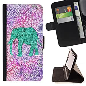 - Elephant Space Aztec - - Style PU Leather Case Wallet Flip Stand Flap Closure Cover FOR Samsung Galaxy S4 IV I9500 - Devil Case -