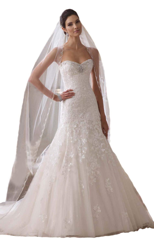 Passat Ivory 1 Tier 90''NEW! Floral Beaded Scallop Edge chapel length Wedding Bridal Veil 224