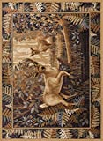 Fern Deer Novelty Lodge Pattern Beige Rectangle Area Rug, 5′ x 7′