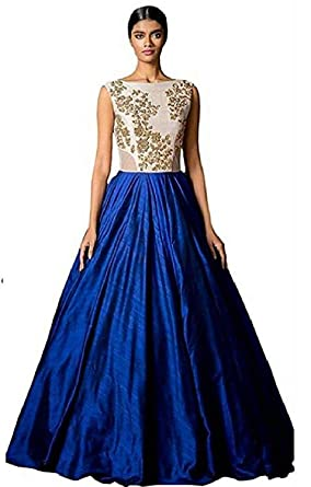 7e77e98716 Image Unavailable. Image not available for. Colour: Clickedia Women's Bhagalpuri  Silk Anarkali Gown_Blue_Free Size