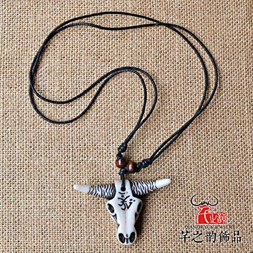 (men ngau tau horn necklace pendant chain national wind wa features yak bone carving ornaments factory direct imitation (vintage white)