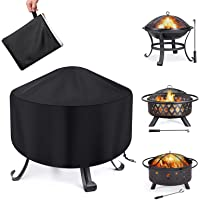 Fire Pit Cover Round Waterproof Fit for 80/90/100cm Outdoor Round Firepit or Fire Bowl 420D Heavy Duty Firepit Cover…
