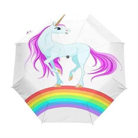 COOSUN Unicornio azul en el arco iris automático 3 plegable del paraguas del parasol Color #