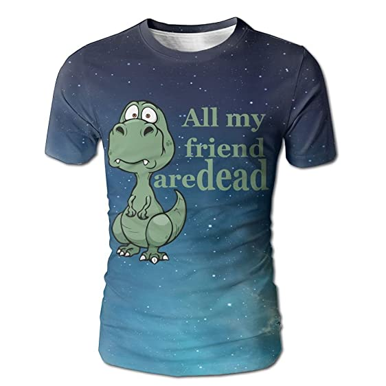 40989132 Ulucky Men/Youth Digital All Over Print Funny Dinosaur All My Friend Are  Dead Short