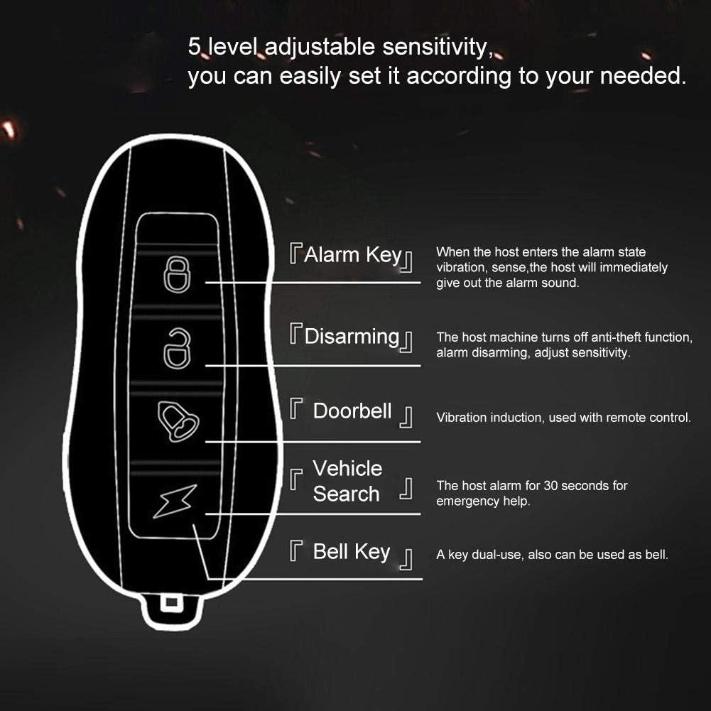 alarma de bicicleta antirrobo inal/ámbrica para bicicleta con control remoto rango de carga USB de 10-20 m alarma de seguridad de vibraci/ón al Sistema de alarma del kit de seguridad de la motocicleta