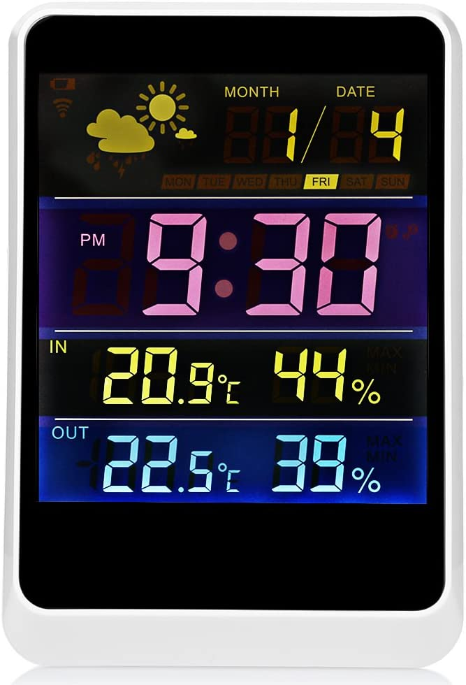 CUHAWUDBA Smart Capteur De Temp/érature DHumidit/é De Thermom/ètre De Digital De Thermom/ètre De Digital De Station M/ét/éorologique sans Fil De Maison