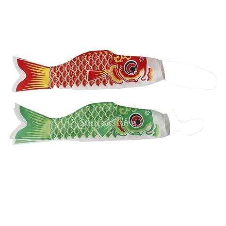 MagiDeal Japanisch Windsock Karpfen Flagge Koi Nobori Koinobori Hanging Flag F/ächer fisch Wind Streamer Dekoration Set//4St/ück 40 cm