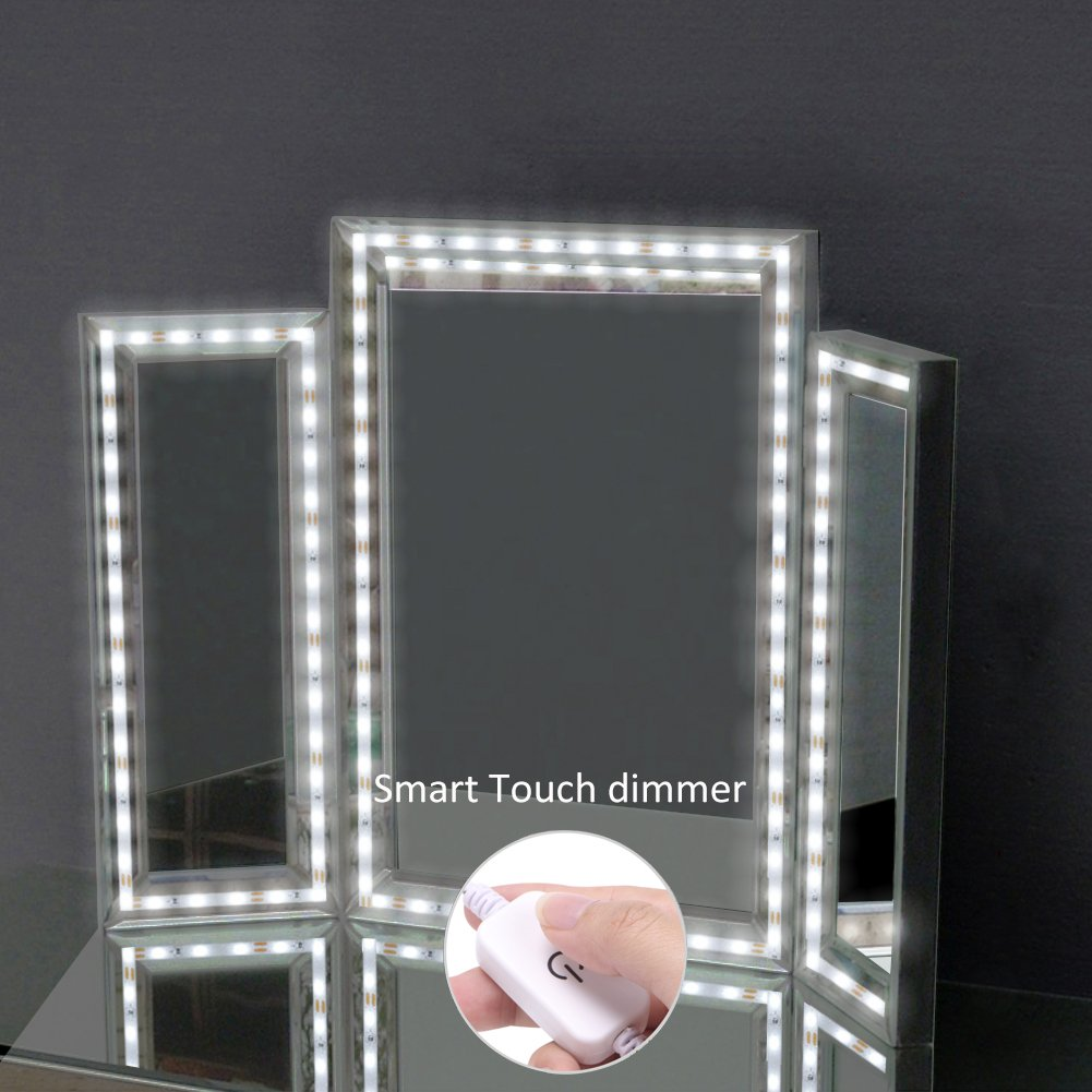 LED Vanity Mirror Lights Kits, abtong 4M/13ft Ultra Bright Makeup Mirror Lights with Smart Touch Dimmer Vanity Lights with Power Supply for Makeup Table Set, Mirror Not Included
