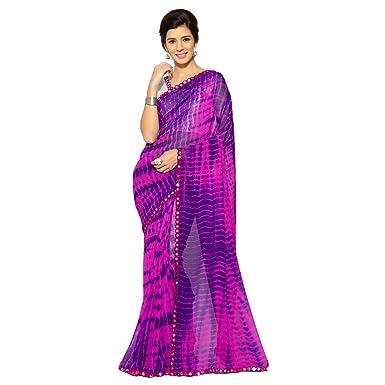 e6958b8dc2 Sourbh Mirchi Fashion Women's Faux Georgette Shibori Print Saree (2682_Pink, Purple)