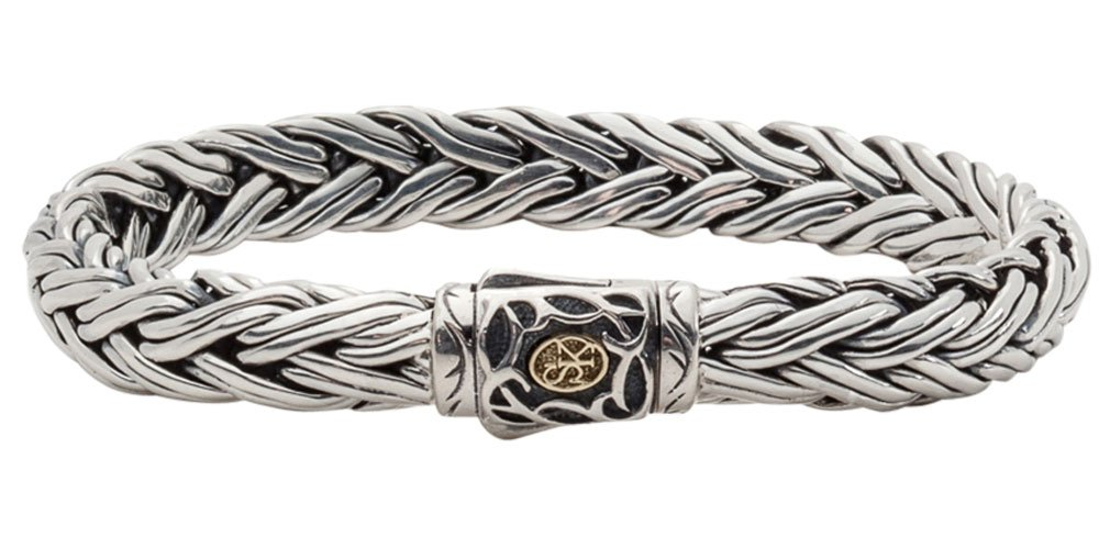 Scott Kay Sterling 9MM Domed Equestrian Bracelet with 18K Accent on Clasp, 8.5 Inches