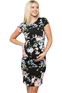 Printed Fitted Stretch Bell Sleeve W//Ruched My Bump Womens Maternity Dress