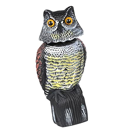 Segolike GARDEN OWL DECOY BIRD SCARER SCARECROW- WIND ACTIVATED SPINNING HEAD