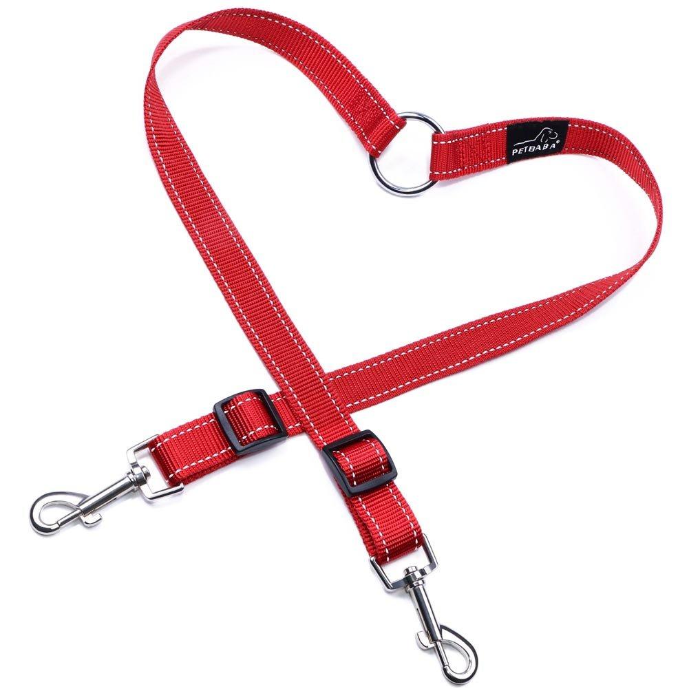 PETBABA Laisse Double Accouple, 30-50cm Longue Réfléchissante Réglable Nylon Laisse de Dressage pour 2 Chiens Rouge