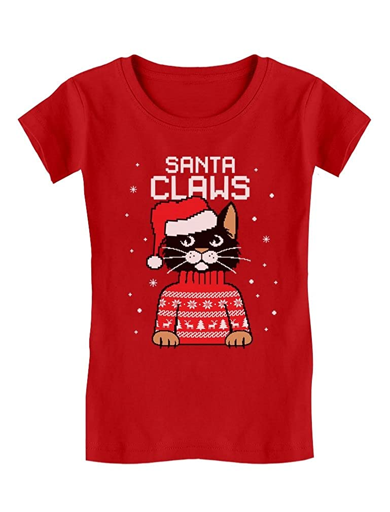 074a1902743d8f Amazon.com: Santa Claws Cat Ugly Christmas Sweater Toddler/Kids Girls'  Fitted T-Shirt: Clothing
