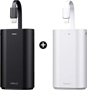 iWALK Portable Charger 9000mAh Ultra-Compact Power Bank with Built-in Cable, External Battery Pack Compatible with iPhone 11, 11 Pro, 11 Pro Max, XS, XR, X, 8, 8 Plus, 7, AirPods, iPad, iPod and More