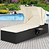 Deuba Poly Rattan Sun Lounger | Outdoor Garden Furniture | Black Patio Recliner with Sun Canopy | Single Day Bed with Cream Cushion