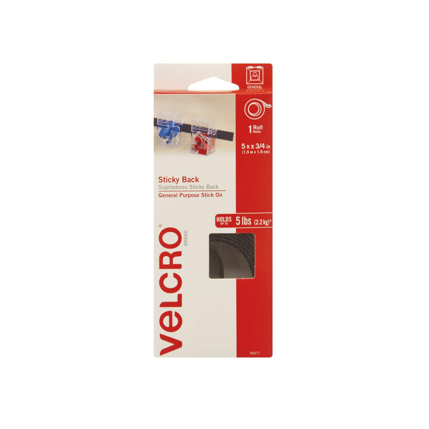 Amazon.com: VELCRO Brand - Sticky Back Hook and Loop Fasteners| Perfect for Home or Office | 5ft x 3/4in Tape | Black: Office Products