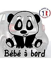 Sticker bébé à bord pour voiture Panda 20 cm Noir - Anakiss