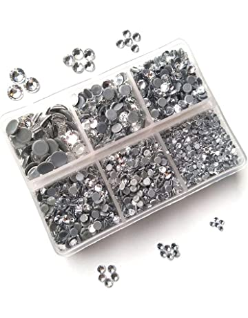 Queenme 3300pcs Clear Hotfix Crystals Mixed Size Flatback Rhinestones for  Clothes Shoes Crafts Hot Fix Round 4e27cbc07