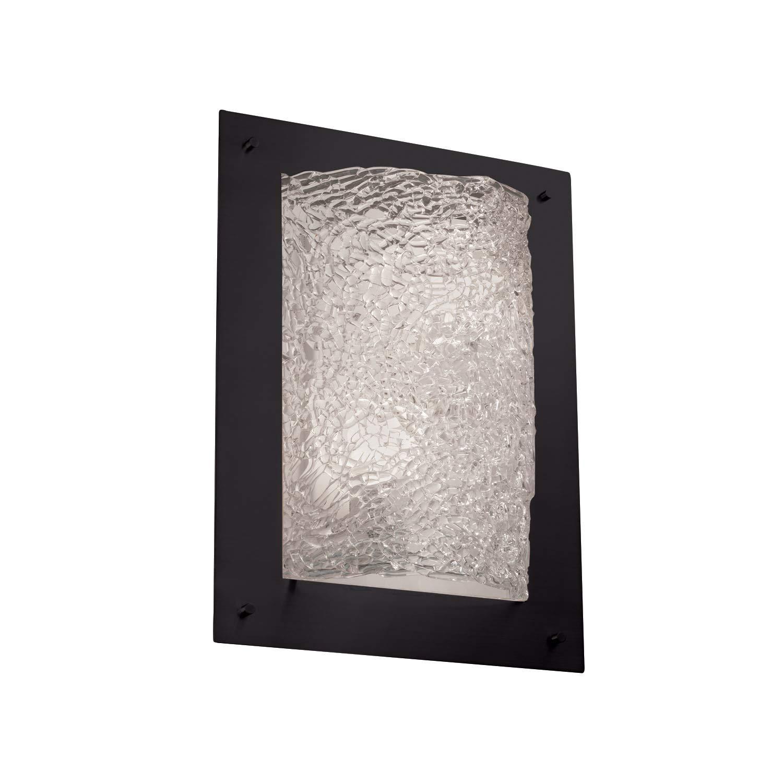 Justice Design Group Lighting GLA-5563-LACE-MBLK-LED2-2000 Veneto Luce-Framed Rectangle 4-Sided Wall Sconce-Matte Black-Lace-LED