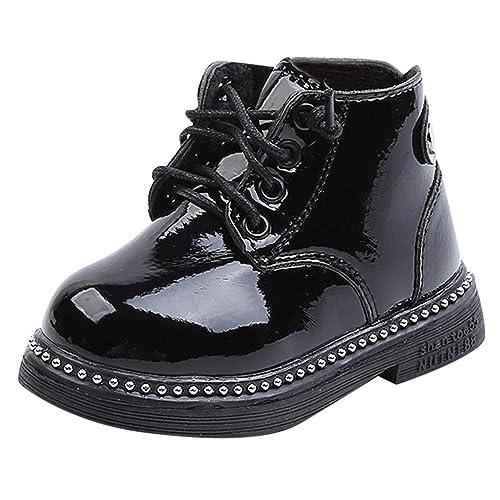 c78f3d6fb Botas Militares de Nieve Bajos para Bebés Niños Niñas Pelo Invierno PAOLIAN  Zapatos Piel de Cordones