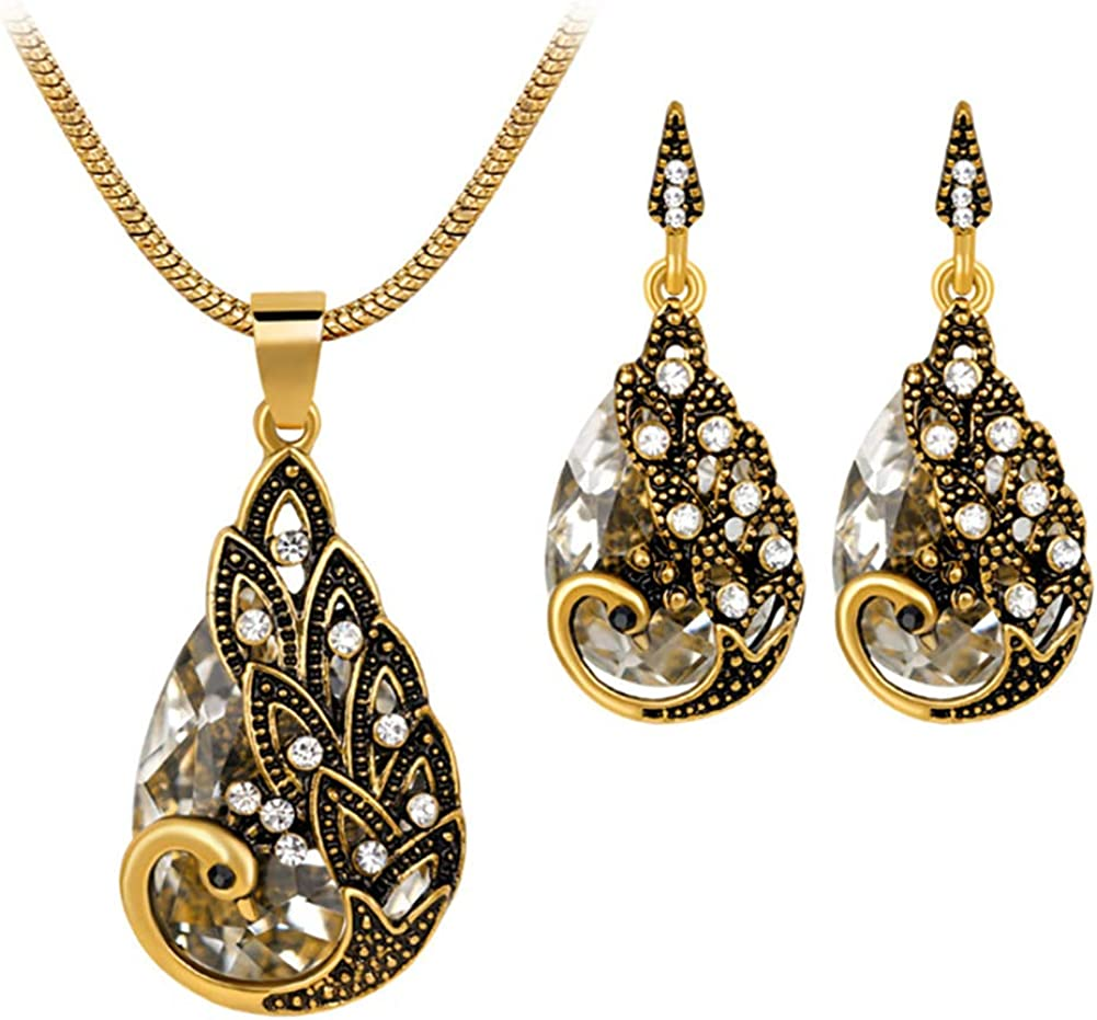 Momangel Conjunto de collar de piedras preciosas de diamantes de pavo real retro de moda europea y americana