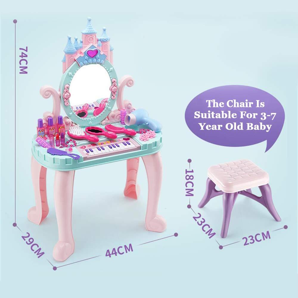 Delex Girls Mirror Makeup Dressing Table Stool Playset Toy Vanity Light /& Music