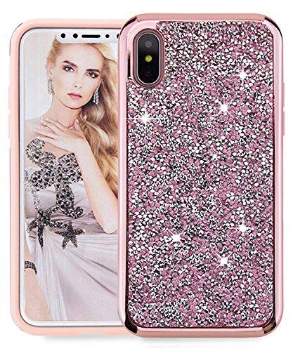 Pattern Rhinestone Diamond (iPhone X Case, iPhone 10 Case,FLYEE 2 in 1 Bling Crystal 3D Diamond Pattern Sparkly Handmade Rhinestone Soft TPU Silicone Bumper Cove Pink)