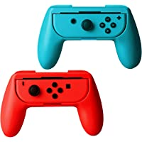 ykooe Grip Kit Cover Case for Nintendo Switch Joy-Con Controllers Handle Kit Game Controller – Blue Red (2 Pack)