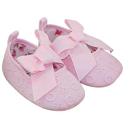 Aivtalk Baby Mädchen Taufschuhe Mary Jane Schuhe Babyschuhe Krabbelschuhe mit Schleife Kleine Prinzessin Weiß